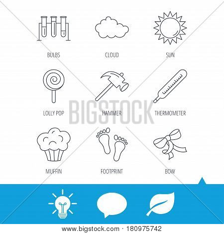 Footprint, lab bulbs and thermometer icons. Muffin, bow and lolly pop linear signs. Cloud and sun flat line icons. Light bulb, speech bubble and leaf web icons. Vector
