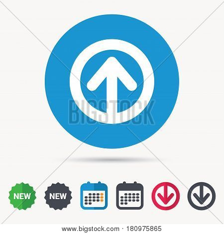 Upload icon. Load internet data symbol. Calendar, download arrow and new tag signs. Colored flat web icons. Vector