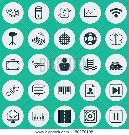 Set Of 25 Universal Editable Icons. Can Be Used For Web, Mobile And App Design. Includes Elements Such As Text Bubble, Account, Basin Ladder And More.