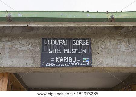 Oldupai Gorge Tanzania - March 10 2017 : Oldupai Gorge archaeology site in Tanzania.