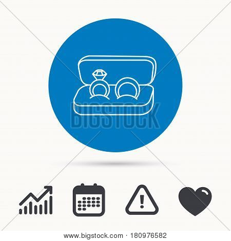 Wedding rings icon. Jewelry with diamond sign. Marriage symbol. Calendar, attention sign and growth chart. Button with web icon. Vector