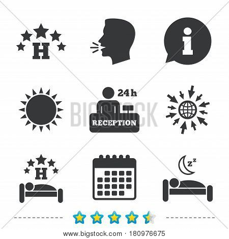 Five stars hotel icons. Travel rest place symbols. Human sleep in bed sign. Hotel 24 hours registration or reception. Information, go to web and calendar icons. Sun and loud speak symbol. Vector