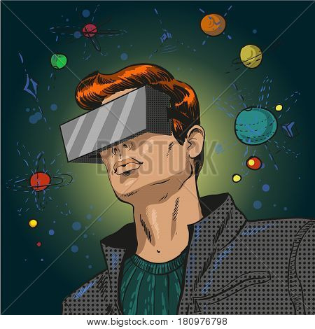 Vector illustration of young man in 3d anaglyph glasses in retro pop art comic style. Stereo glasses for cinema.