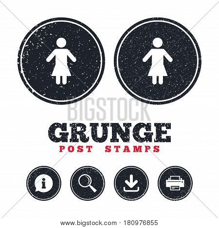 Grunge post stamps. Female sign icon. Woman human symbol. Women toilet. Information, download and printer signs. Aged texture web buttons. Vector