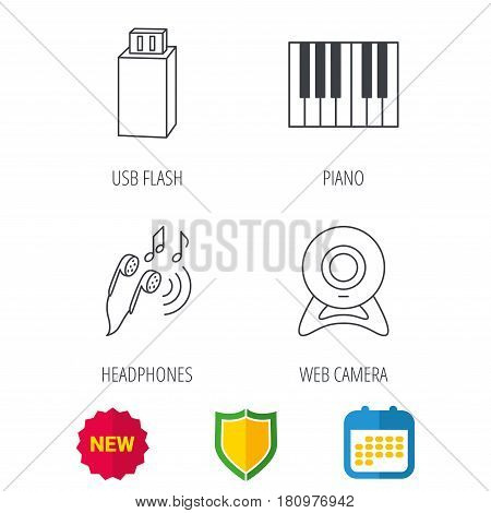 Headphones, web camera and USB flash icons. Piano linear sign. Shield protection, calendar and new tag web icons. Vector