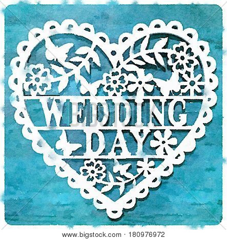 Digital watercolor painting of a decorative wedding day heart on a turquoise background.