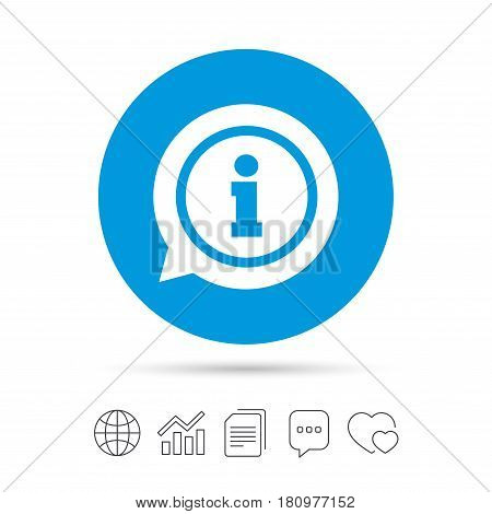 Information sign icon. Info speech bubble symbol. Copy files, chat speech bubble and chart web icons. Vector