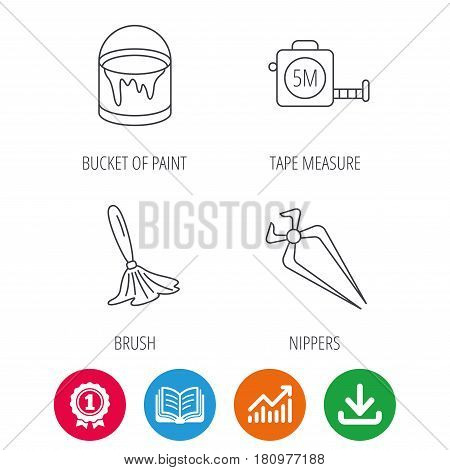 Tape measure, bucket of paint and paint brush icons. Nippers linear sign. Award medal, growth chart and opened book web icons. Download arrow. Vector