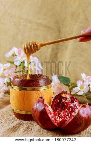 Rosh Hashanah Jewish Holiday Matzoh Passover Bread Pomegranate