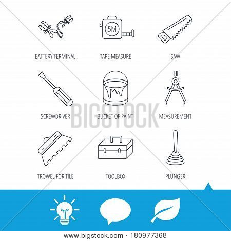 Screwdriver, plunger and repair toolbox icons. Trowel for tile, bucket of paint linear signs. Measurement, battery terminal icons. Light bulb, speech bubble and leaf web icons. Vector