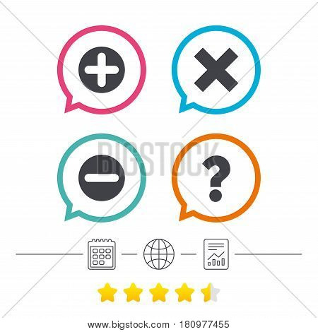 Plus and minus icons. Delete and question FAQ mark signs. Enlarge zoom symbol. Calendar, internet globe and report linear icons. Star vote ranking. Vector