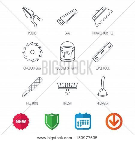 Trowel for tile, saw and brush tool icons. Level and file tool, bucket of paint linear signs. Plunger, pliers icons. New tag, shield and calendar web icons. Download arrow. Vector