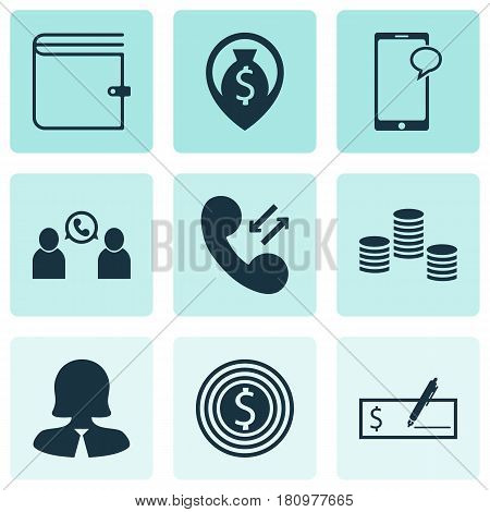 Set Of 9 Management Icons. Includes Business Woman, Business Goal, Bank Payment And Other Symbols. Beautiful Design Elements.