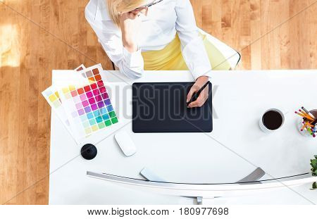 Graphic Designer Using Her Graphic Tablet