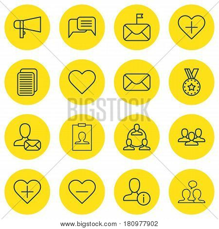 Set Of 16 Communication Icons. Includes Online Letter, Message, Add To Favorites And Other Symbols. Beautiful Design Elements.