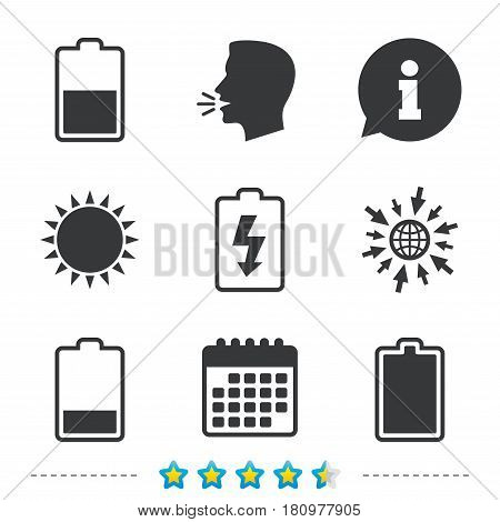 Battery charging icons. Electricity signs symbols. Charge levels: full, half and low. Information, go to web and calendar icons. Sun and loud speak symbol. Vector