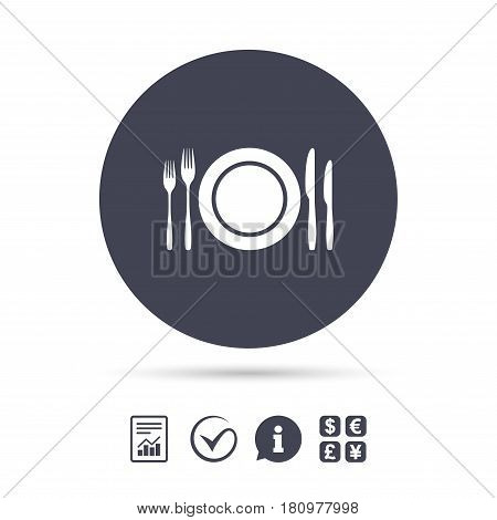 Plate dish with forks and knifes. Eat sign icon. Cutlery etiquette rules symbol. Report document, information and check tick icons. Currency exchange. Vector