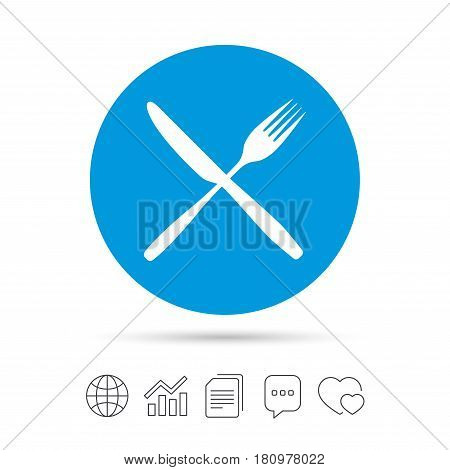 Eat sign icon. Cutlery symbol. Fork and knife crosswise. Copy files, chat speech bubble and chart web icons. Vector
