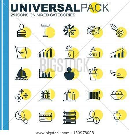 Set Of 25 Universal Editable Icons. Can Be Used For Web, Mobile And App Design. Includes Elements Such As Unlock, Fresh Dining, Profile Data And More.