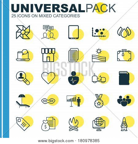 Set Of 25 Universal Editable Icons. Can Be Used For Web, Mobile And App Design. Includes Elements Such As Suitcase, Aqua, Ticket And More.