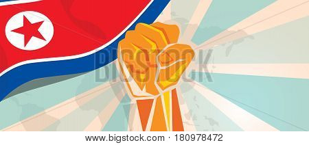 North Korea or Democratic People s Republic of Korea propaganda poster fight and protest independence struggle rebellion show symbolic strength with hand fist vector