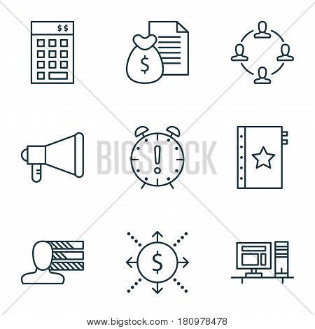 Set Of 9 Project Management Icons. Includes Announcement, Investment, Computer And Other Symbols. Beautiful Design Elements.