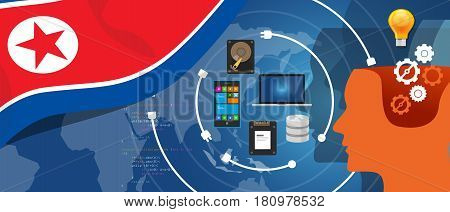 North Korea or Democratic People s Republic of Korea information technology digital infrastructure connecting business data via internet network using computer software an electronic innovation vector.