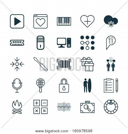 Set Of 25 Universal Editable Icons. Can Be Used For Web, Mobile And App Design. Includes Elements Such As Baggage Research, Mainframe, Mike And More.