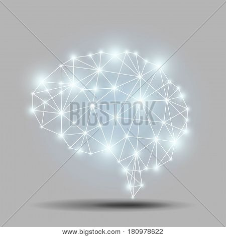 Glowing brain polygon on gray background. AI artificial intelligence concept art.