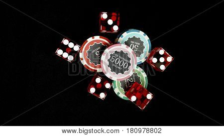 Top view of Five red dice and stacked of chips bet many value on black fabric Gambling devices and casino concept