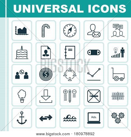 Set Of 25 Universal Editable Icons. Can Be Used For Web, Mobile And App Design. Includes Elements Such As Decision Making, Radio Set, Discussion And More.