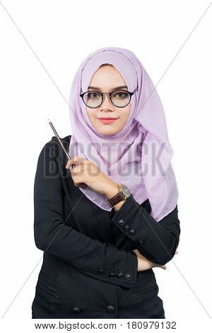 Beautiful modern Young Asian Muslim business woman holding a pencilisolated on white background.