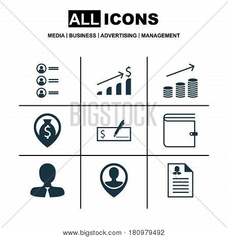 Set Of 9 Human Resources Icons. Includes Job Applicants, Female Application, Bank Payment And Other Symbols. Beautiful Design Elements.