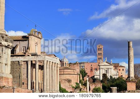 Roman Forum columns temples and churches along 'Sacred Road' in the center of Rome