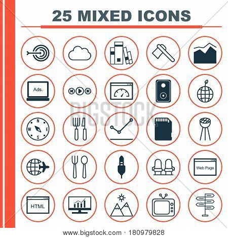 Set Of 25 Universal Editable Icons. Can Be Used For Web, Mobile And App Design. Includes Elements Such As Landscape, Fork Knife, World Ecology.