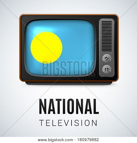 Vintage TV and Flag of Palau as Symbol National Television. Button with Palauan flag
