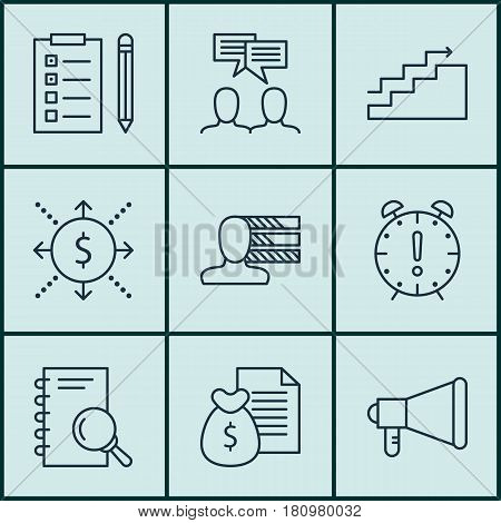 Set Of 9 Project Management Icons. Includes Reminder, Money, Report And Other Symbols. Beautiful Design Elements.