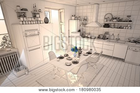 White Sunny Kitchen 3D Wireframe Home Remodeling