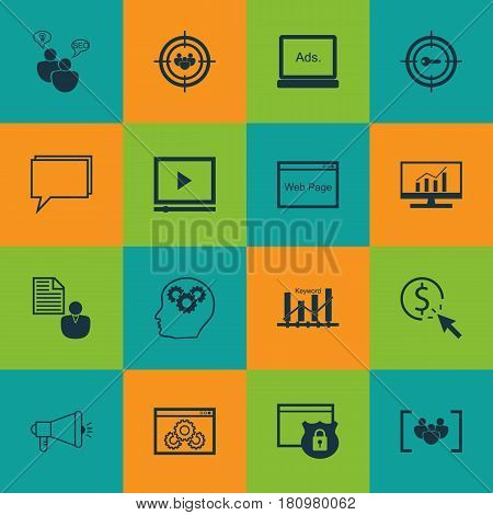 Set Of 16 SEO Icons. Includes Keyword Marketing, Focus Group, Web Page Performance And Other Symbols. Beautiful Design Elements.