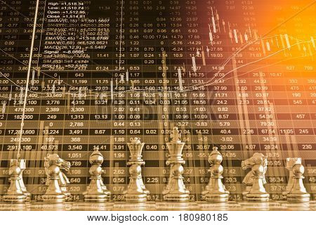 Business game on digital stock market financial and chess background. Digital business and stock market financial on LED. Double exposure chess business strategy and digital stock market financial.