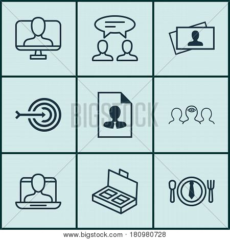 Set Of 9 Business Management Icons. Includes Calling Card, Cv, Arrow And Other Symbols. Beautiful Design Elements.