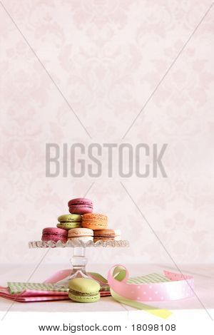 French macaroons on dessert tray with vintage feeling