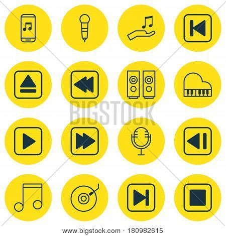 Set Of 16 Audio Icons. Includes Skip Song, Start Song, Octave And Other Symbols. Beautiful Design Elements.