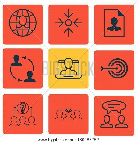 Set Of 9 Business Management Icons. Includes Social Profile, Collaborative Solution, Business Aim And Other Symbols. Beautiful Design Elements.