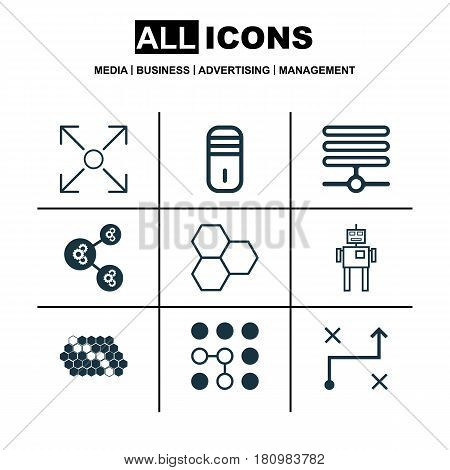 Set Of 9 Machine Learning Icons. Includes Mainframe, Cyborg, Information Components And Other Symbols. Beautiful Design Elements.