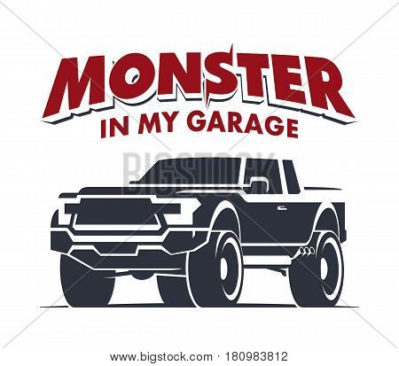 Monster truck garage logo. Modern off-road pickup vector illustration