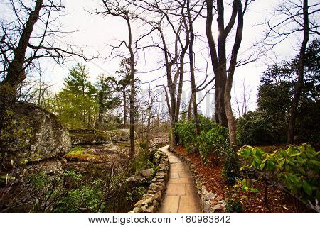 A stone footpath curving through a forest of trees and green foliage and large boulders in a park