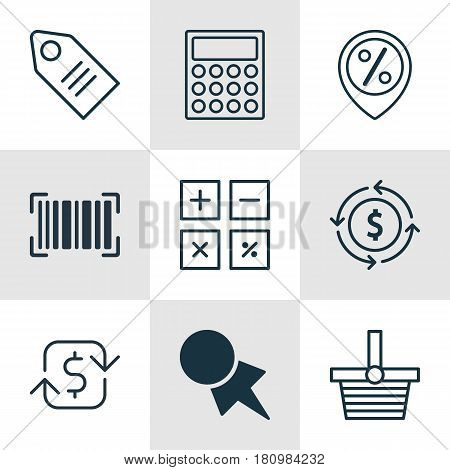 Set Of 9 E-Commerce Icons. Includes Discount Location, Recurring Payements, Finance And Other Symbols. Beautiful Design Elements.