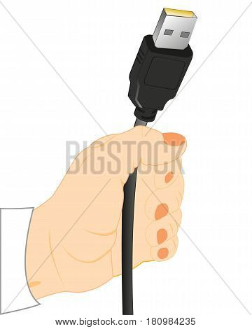 Cable with connector in hand of the person on white background