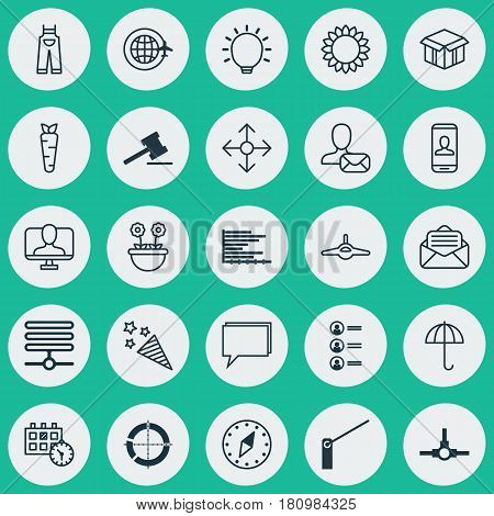 Set Of 25 Universal Editable Icons. Can Be Used For Web, Mobile And App Design. Includes Elements Such As Bars Chart, Firecracker, Roadblock And More.